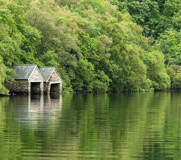Boatsheds on Llyn Dinas Snowdonia