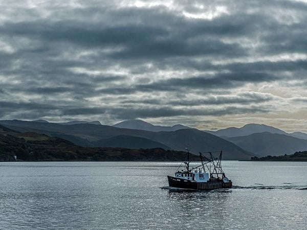 Trawler on Loch Broom Coming Home