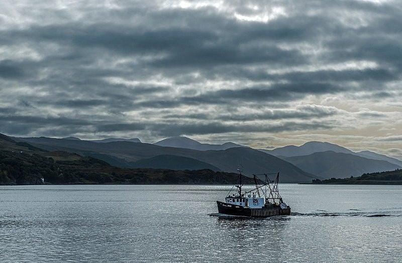 Trawler on Loch Broom Coming Home