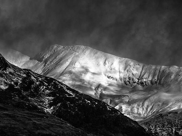 Binnean Mhor Above Loch Leven Monochrome