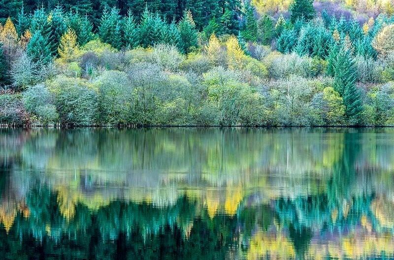 Reflections in Llwyn Onn Reservoir