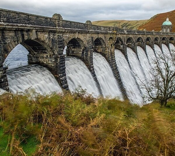 Craig Goch Dam with Water cascading