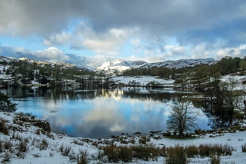 Loughrigg Tarn and Langdale Pikes in Winter