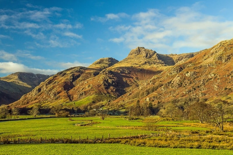 Langdale Pikes Lake District in winter