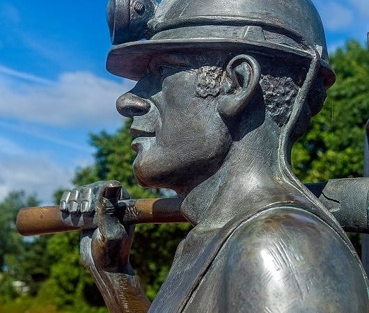 Statue of Coal Miner Cardiff Bay