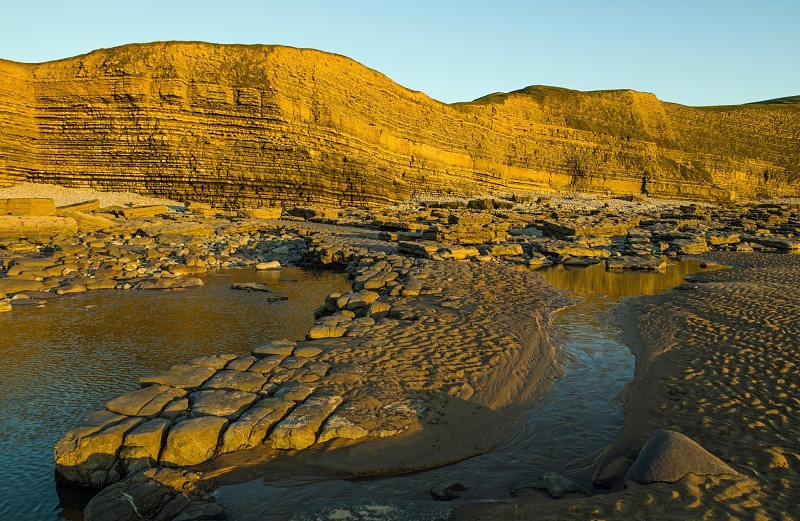 Cliffs of Dunraven Bay in Winter